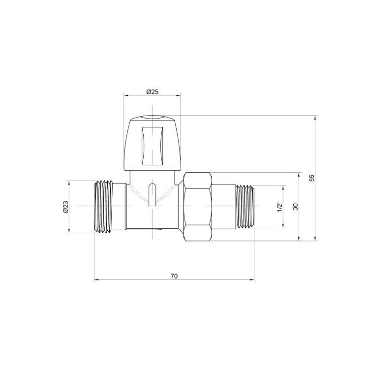 """кран радиат 1/2 б/ручки-прямий """"Ісма"""" під фітінг №829 - 2"""