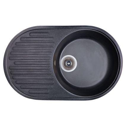 Мийка Fosto 74х46/740*460*180 колір SGA-420 чорний (без сифона) - 1