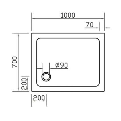 Піддон SMC 70*100*3,5 см прямокутний - 2