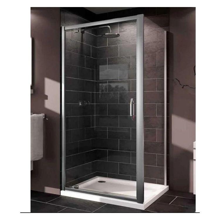X1 дверь распашная для ниши и боковой стенки 90*190см (проф гл хром, стекло прозр) - 3