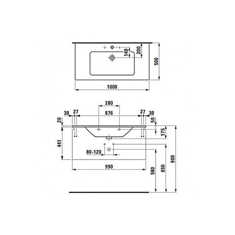 PRO S комплект тумба+умывальник 100*50см (8179670001041+4835310964641), цвет белый глянец - 2