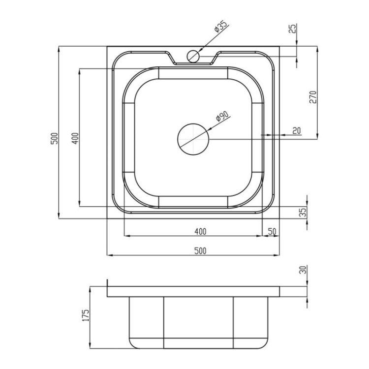 Кухонна мийка Lidz 5050 Decor 0,8 мм (LIDZ5050DEC08) - 2