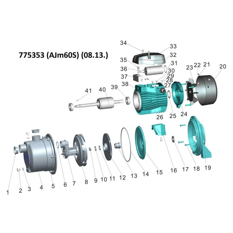 Насос центробежный самовсасывающий 0.6кВт Hmax 43м Qmax 47л /мин (нерж) LEO 3.0 (775353) - 3