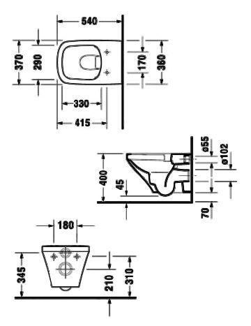 DURASTYLE унитаз 37*54см, подвесной, без смывного края, с вертикальным смывом, вкл. крепление Durafix - 2