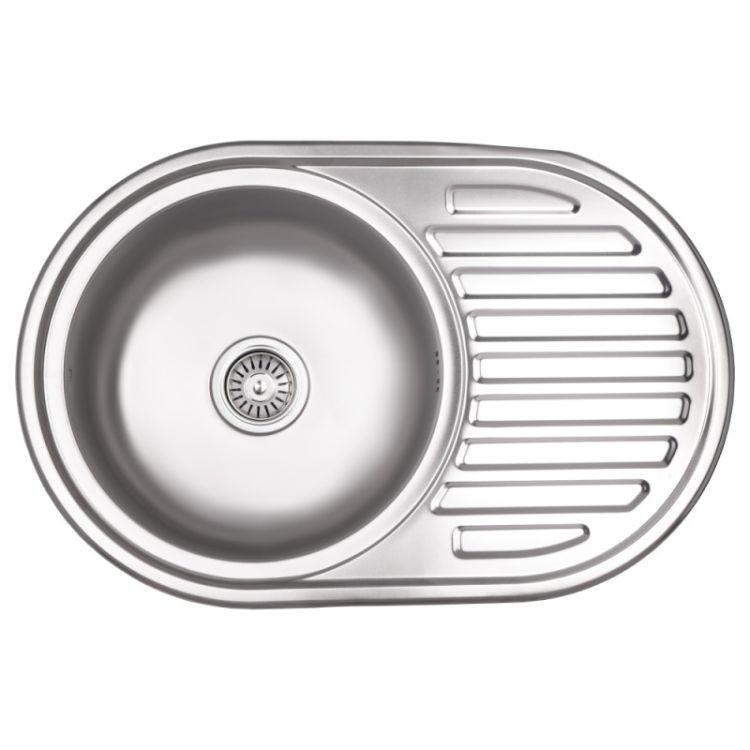 Кухонна мийка Lidz 7750 dekor 0,8 мм (LIDZ7750MDEC) - 1