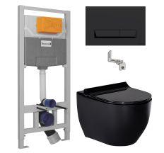 Комплект: BLACK AMADEUS унітаз чорний, сидіння тверде Slim slow-closing+IMPRESE комплект інсталяції 3в1 (чорна клавіша)