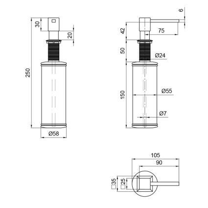 Дозатор для миючого засобу Lidz (CRM) 112 000 00 02 - 2