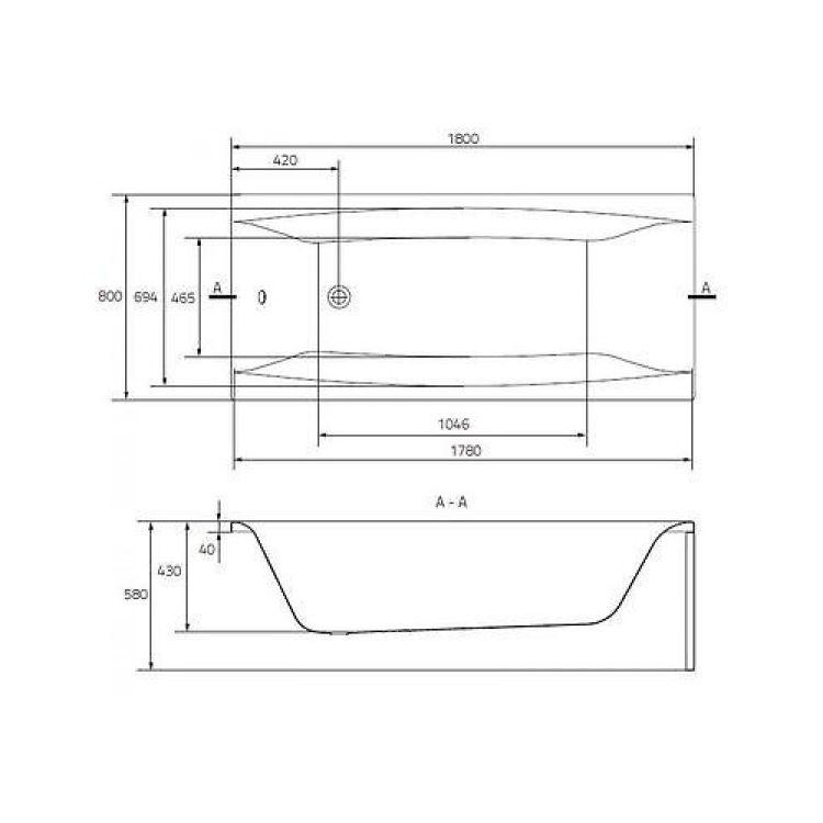 Ванна акрилова Cersanit Virgo 180x80 з ніжками - 4