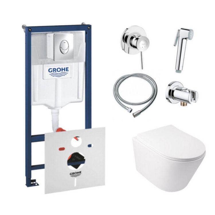 Комплект інсталяція Grohe Rapid SL 38721001 + унітаз з сидінням Qtap Swan QT16335178W + набір для гігієнічного душу зі змішувачем Grohe BauClassic 111048 - 1