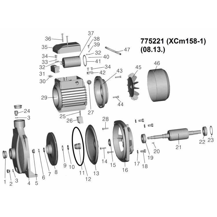 Насос центробежный 0.75кВт Hmax 36м Qmax 100л/мин LEO (775221) - 2