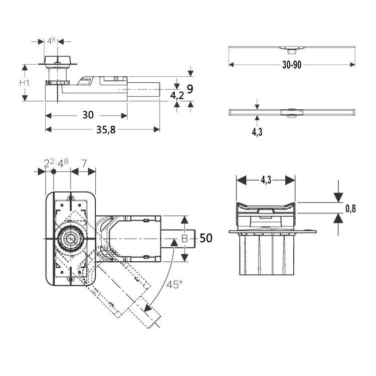Комплект Geberit CleanLine, висота стяжки 90-200мм - 2