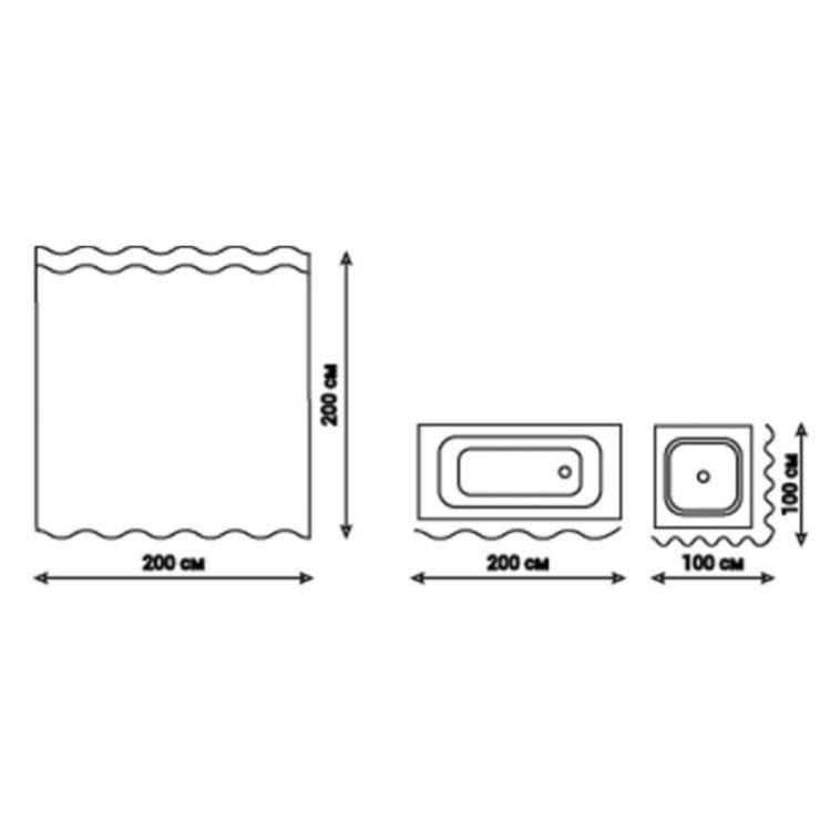 Шторка для ванной Q-tap Tessoro PA62774 200*200 - 3