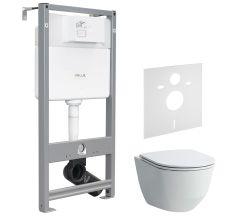 Набір інсталяційний: PRO Rimless унітаз підвісний, з сидінням Slim + VOLLE MASTER EVO інсталяція для унітазу 3в1 (інсталяція, кріплення, прокладка)