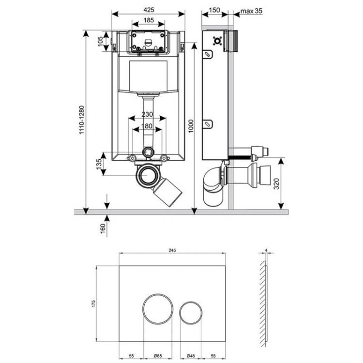 Набір інсталяція 4 в 1 Qtap Nest ST з круглої панеллю змиву QT0133M425V1163GB - 2