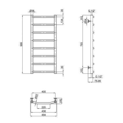 Рушникосушарка водяна Lidz Trapezium (CRM) D38/25 400x1000 P8 - 2