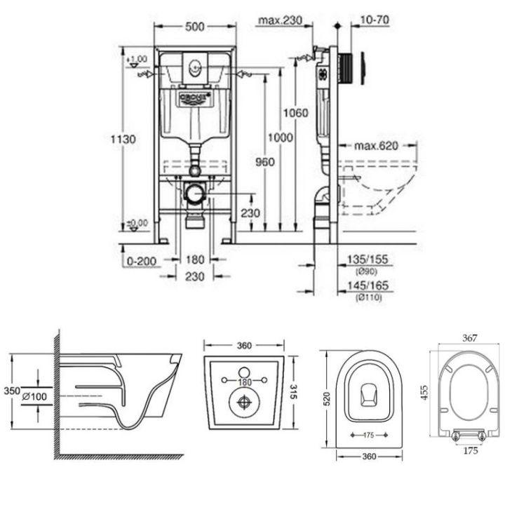 Набір інсталяція 4 в 1 Grohe Rapid SL 38721001 + унітаз з сидінням Qtap Jay QT07335176W - 2