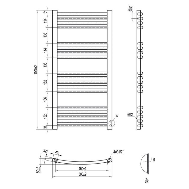 Рушникосушарка водяна Qtap Evia (SIL) P18 HY 1000x500 - 2