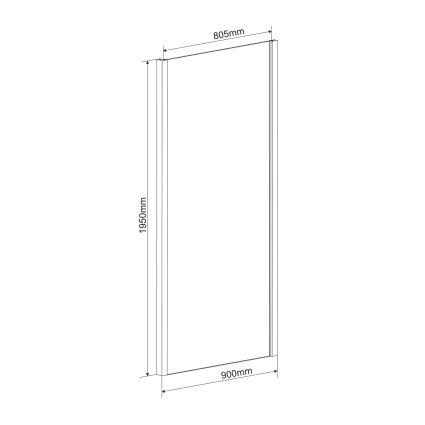 Боковая стенка 90*195 см, для комплектации с дверьми bifold 599-163 (h) - 2