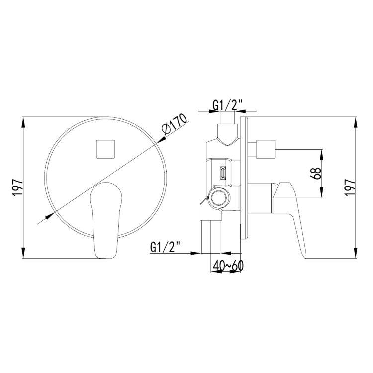 NEMO смеситель скрытого монтажа для ванны - 2