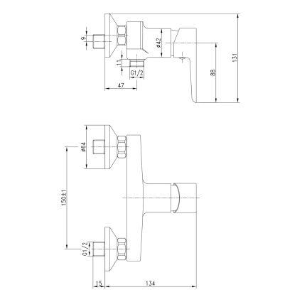 BRECLAV змішувач для душа, хром/білий, 35мм - 2