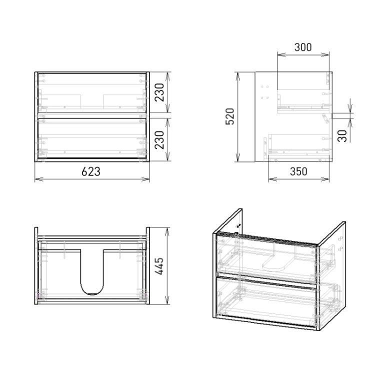 TEO комплект меблів 65см бетон: тумба підвісна, 2 ящика + умивальник накладний арт 15-88-060 - 3