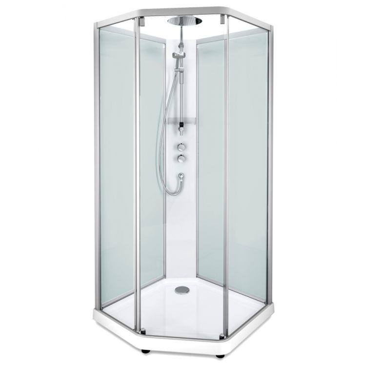 IDO задні стінки душової п'ятикутні кабіни 90*90см, срібний профіль/матове скло - 1