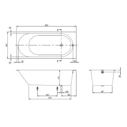 OBERON 2.0 Solo ванна 180*80см, квариловая з ніжками і зливом-переливанням - 2