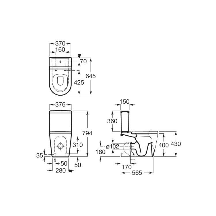 INSPIRA Square бачок 370*150*360мм, в комплекті з кріпленнями - 2