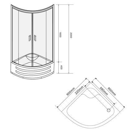 Душова кабіна TISZA MELY на глибокому піддонні 90х90х200 см 599-187 - 2
