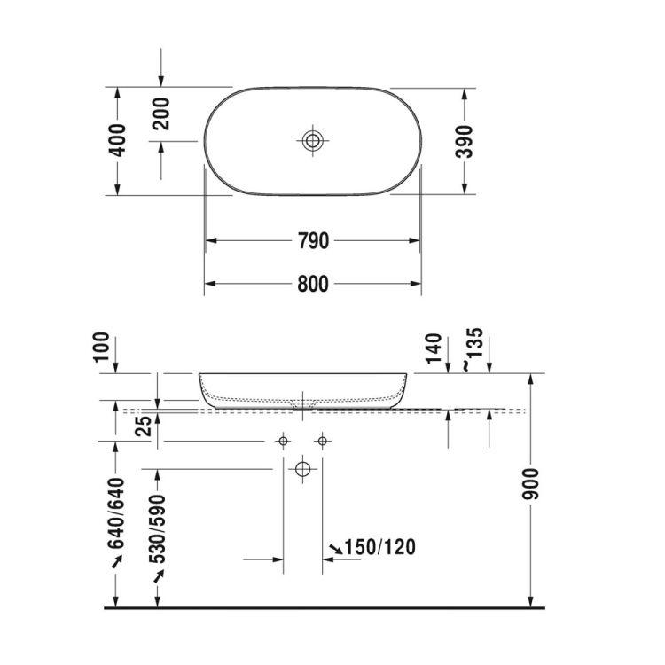 LUV умивальник 80*40см, накладної, без отв. під змішувач, без переливу - 2