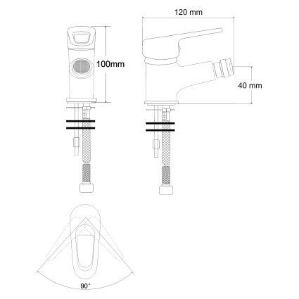 NARCIZ змішувач одинважільний для биде, хром 40мм - 2