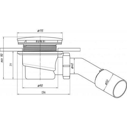 Сіфон Е321С Ані д/душ піддона 11,2х90 (жорсткий вихід) - 2