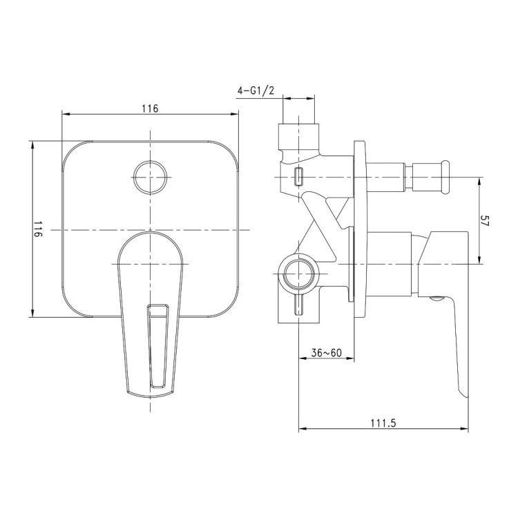 BRECLAV змішувач прихованого монтажу для ванни, хром/білий, 35мм - 2