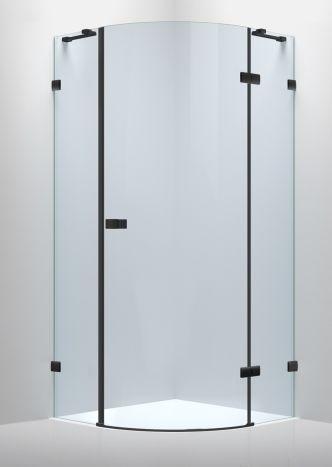 De la Noche Душова кабіна кутова 900*900*2000мм (скла+двері), права,орні, скло 8мм з Nano покриттям - 1