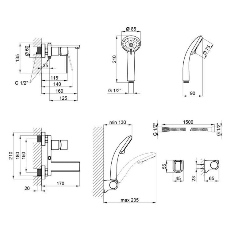 Смеситель для ванны Q-tap Form 006 - 2