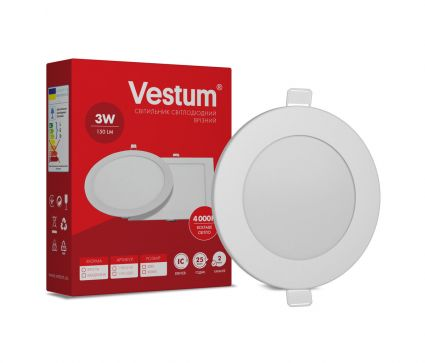 Светильник светодиод 3W 1-VS-5101 LED врезной круглый Vestum 4000K 220V - 1