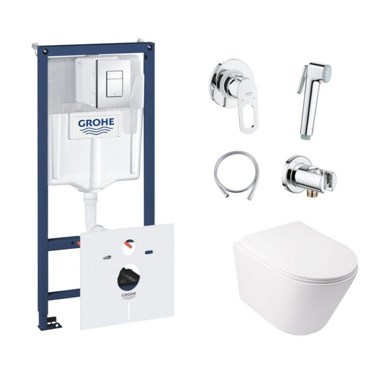 Комплект інсталяція Grohe Rapid SL 38827000 + унітаз з сидінням Qtap Swan QT16335178W + набір для гігієнічного душу зі змішувачем Grohe BauLoop 111042 - 1