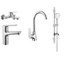 Набір змішувачів для ванни та кухні (4 в 1) (змішувачі kit30092 + штанга 6801103)