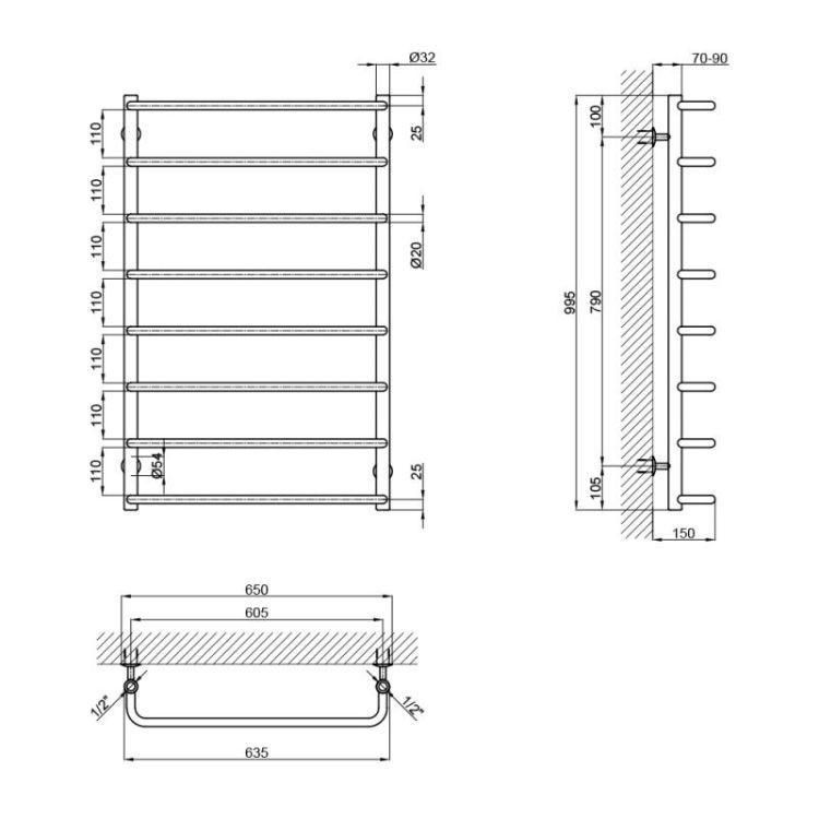 """Рушникосушарка водяна Lidz Standard (CRM) D32/20х1/2"""" 600x1000 P8 - 2"""