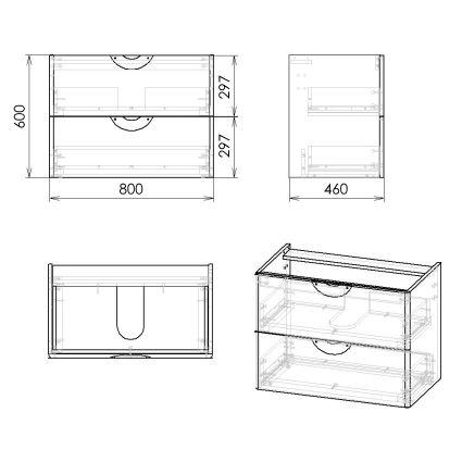 NOVA VLNA M комплект меблів 80см, чорний: тумба підвісна, 2 ящика + умивальник накладний арт i11054 - 3