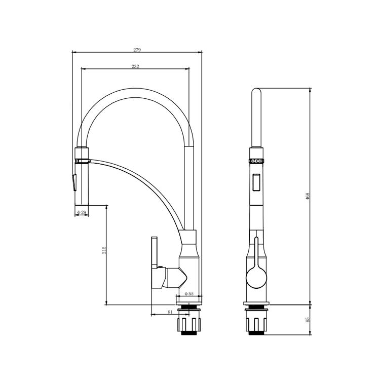 Змішувач OMODEO Ø35 для кухні вилив силіконовий на гайці CORSO (EC-4B526C) - 5