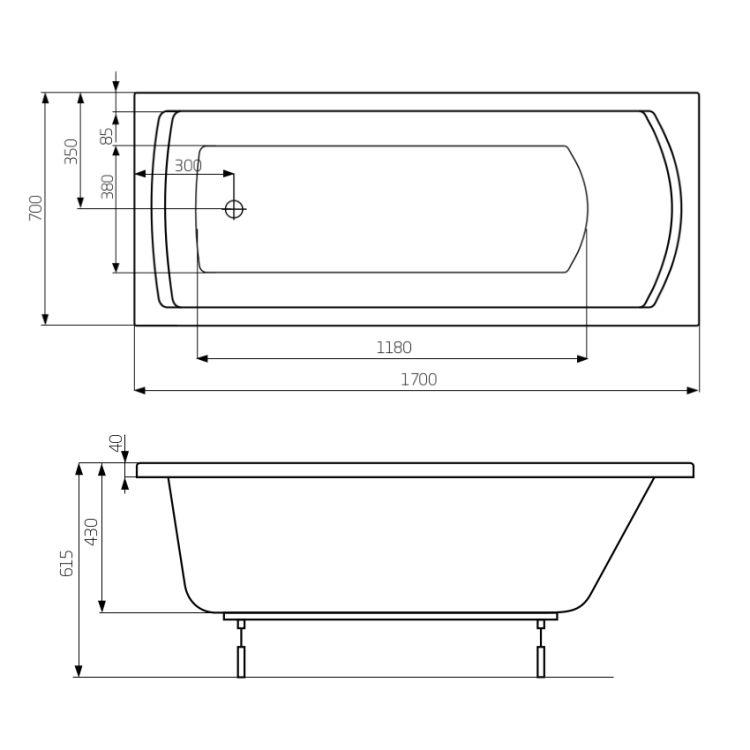 LINEA ванна 1700*700мм, з ніжками - 2