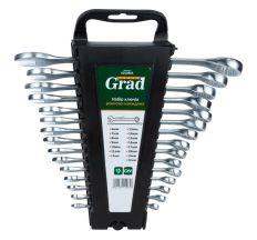 Ключі рожково-накидні 15шт (6-19, 22мм) CrV GRAD (6010965)