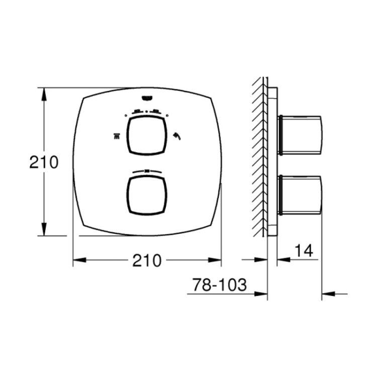 Зовнішня частина термостатичного змішувача для душу з вбудованим перемикачем на 2 положення Grohe Grandera 19937000 - 2