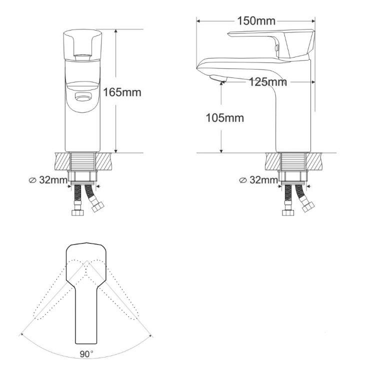 ROCK смеситель для умывальника однорычажный, хром 35 мм - 2