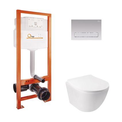 Набір Qtap інсталяція Nest QTNESTM425M08CRM + унітаз з сидінням Jay QT07335176W - 1