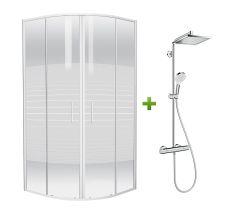 Комплект: TISZA (AMUR) душова кабіна 90*90*185см (599-021-A/1) + CROMETTA E 240 1jet Showerpipe (27271000)