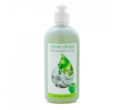"Гель для миття посуду Clean drops ""Зелене яблуко"" 0,5л"