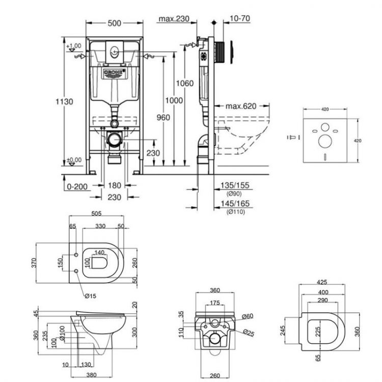 Набір інсталяція 4 в 1 Grohe Rapid SL 38722001 + унітаз з сидінням Qtap Lark QT0331159W - 2