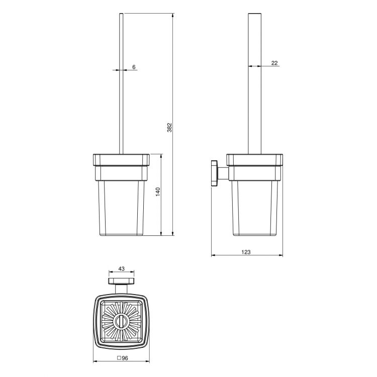 TEO ершик туалетный, матовое стекло, крепление к стене, хром - 2